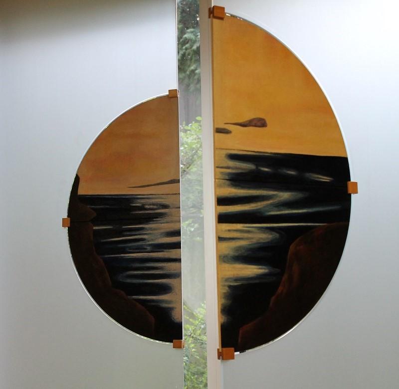Raum-der-Stille-ev.-KH-Hattingen-Schoepfungszyklus-Fenster-Schlamm-Oel-auf-Holz-2001